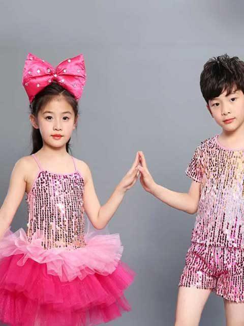 kids pink sequined modern dance