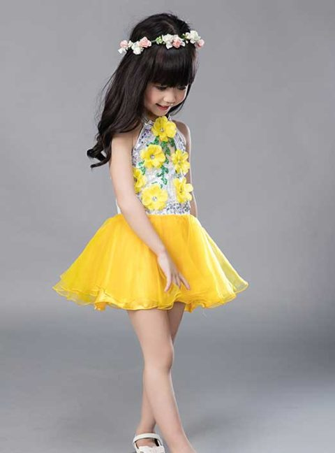 yellow modern Sequins dance costume