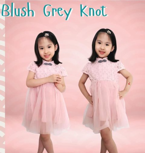 Blush Grey Knots cny dress