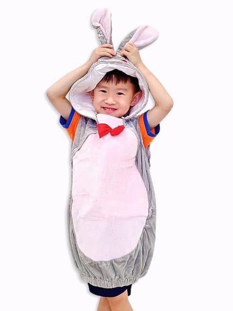 Children Grey Bunny plush Jumpsuit Costume