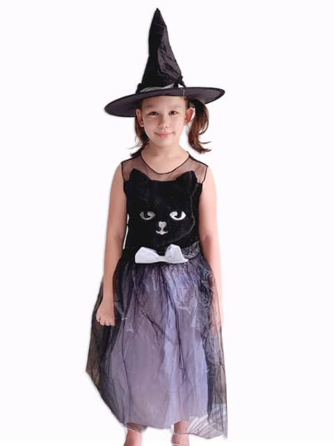 Cat Witch Costume Dress with Hat