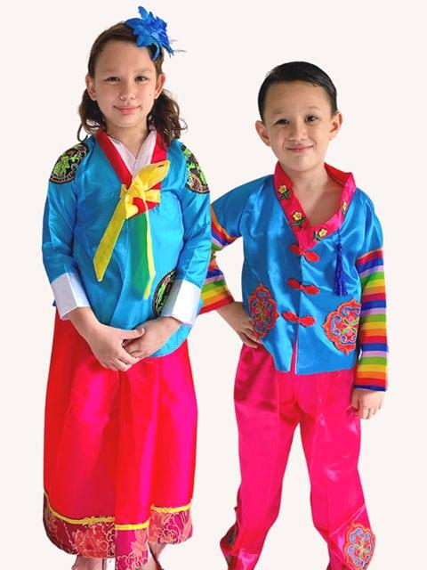 Korean in Blue traditional costume wear