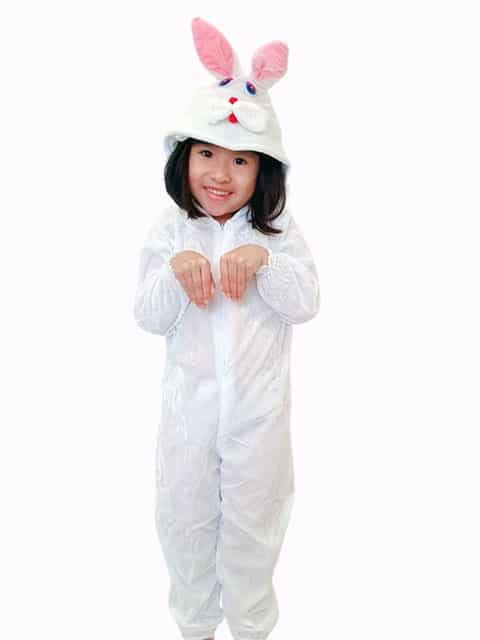 Children white Bunny plush Jumpsuit Costume