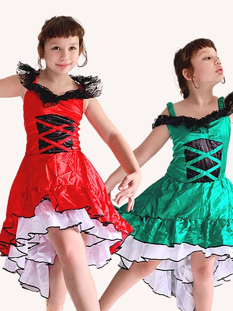 Red and green Kids Flamenco Dress