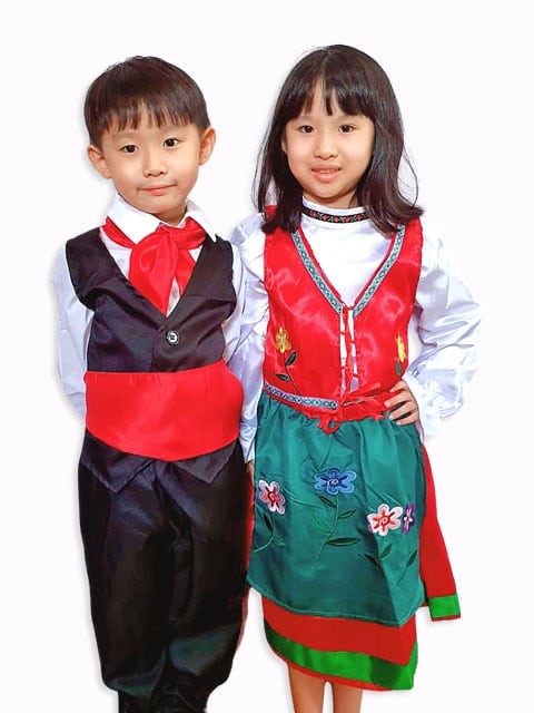 Traditional Eurasian costume for boys and girls,