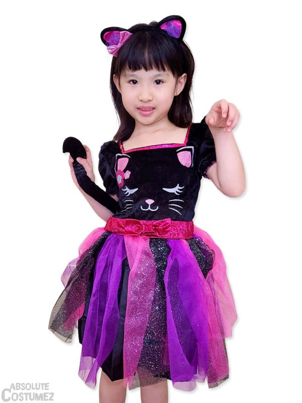 Cutesy Cat is the feline pet costume for children 3 to 9 years old.