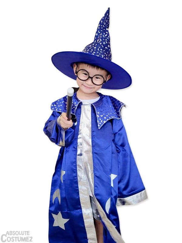 Merlin Wizard the mystic book character costume for children 2 to 12 years old