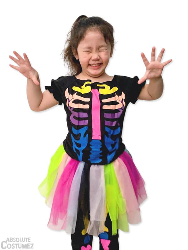 Rainbow Skeleton is the shinny spooky costume for girl 3 to 8 years old