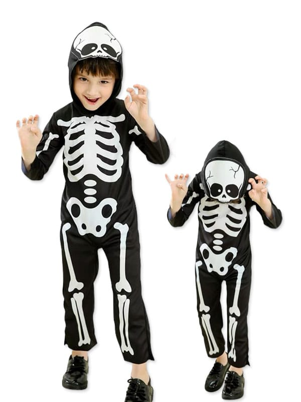 Skeleton mono is the bare bone costume for children 3 to 8 years old.