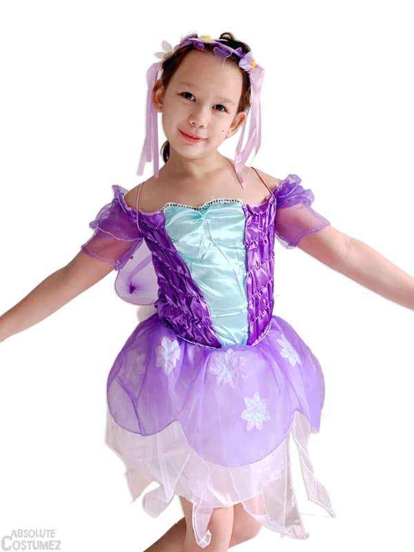 Violet fairy is a pixie costume for children