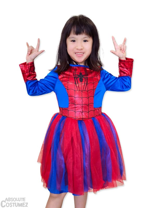 Girl Spidey the female sidekick of the famous super hero costume for children 5 to 8 years
